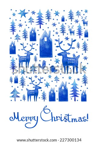 Watercolor Christmas card design. Blue watercolor houses, deer, trees and bird silhouettes, Merry Christmas lettering, typography composition. Greeting card, winter theme illustration. - stock photo