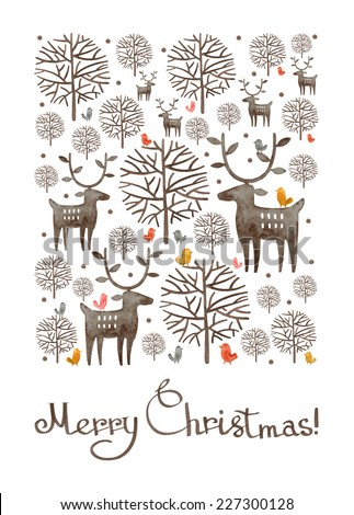 Watercolor Christmas card design. Watercolor deer, trees and bird silhouettes, Merry Christmas lettering, typography composition. Greeting card, winter theme illustration. - stock photo