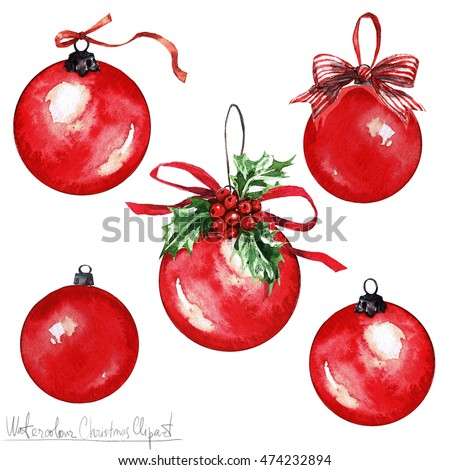 Watercolor Christmas Clipart - Balls