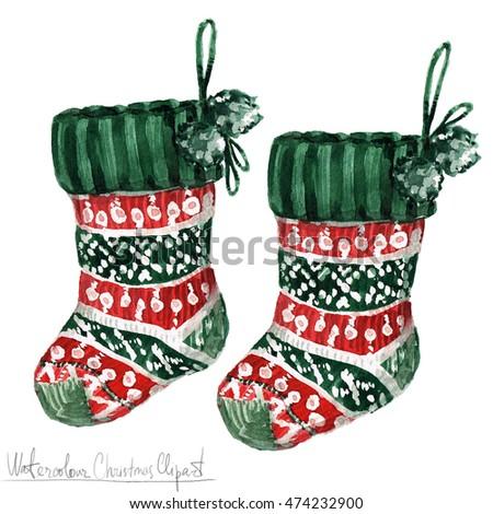 Watercolor Christmas Clipart Socks Stock Illustration 474232900