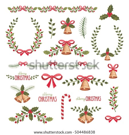 Watercolor christmas decorations collection