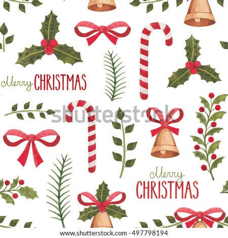 Watercolor christmas decorations. Seamless pattern