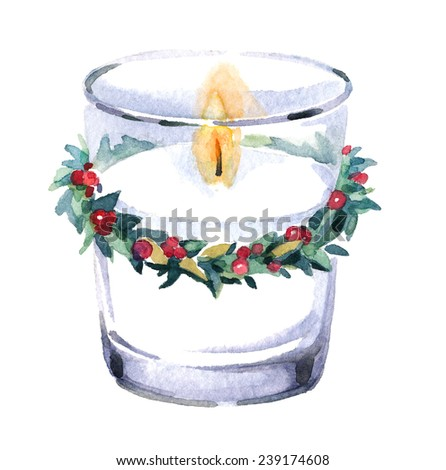 Watercolor Christmas elements perfect for vintage postcards decoration. ?andle decorated with a green wreath. - stock photo