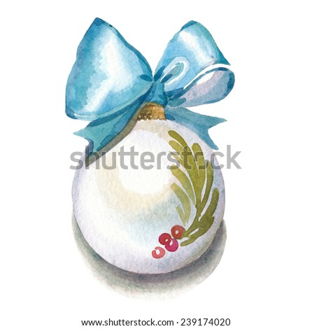 Watercolor Christmas elements perfect for vintage postcards decoration. Christmas bauble with satin ribbon and bow - stock photo