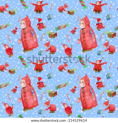 Watercolor Christmas gnome seamless pattern in raster - stock photo
