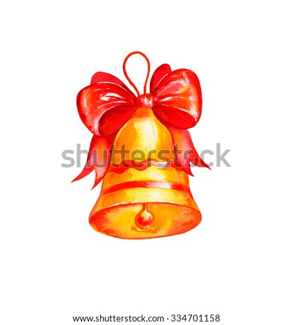 Watercolor Christmas golden Bell with red bow. Hand drawn Christmas and New Year illustration. - stock photo