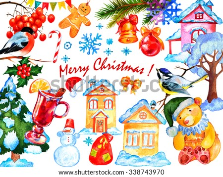 Watercolor Christmas greeting card. Hand drawn illustration for greeting cards or banners. - stock photo