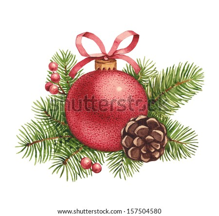 Watercolor Christmas illustration. Christmas ball and pine with decorations - stock photo