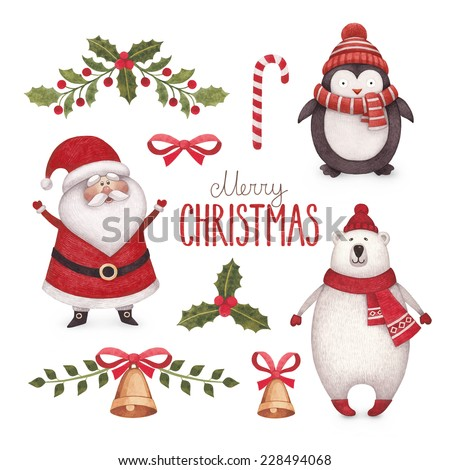 Watercolor christmas illustrations collection - stock photo