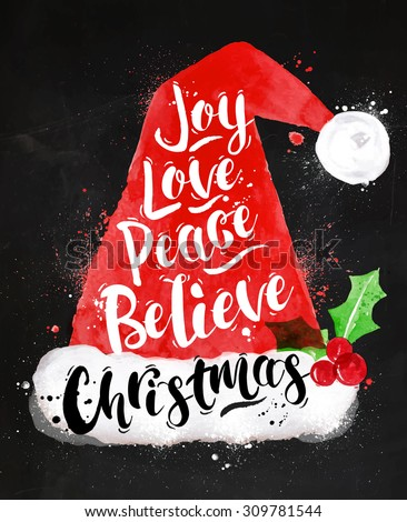 Watercolor Christmas poster Santa hat lettering joy, love, peace, believe, Christmas drawing in vintage style on kraft paper - stock photo