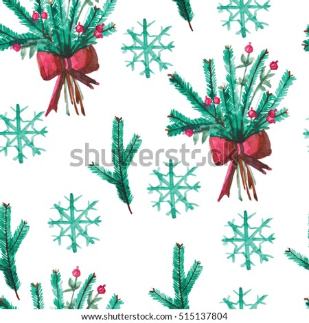 Watercolor christmas Seamless pattern with spruce branches, snowflakes and bouquet of spruce branches on a white background
