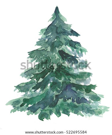 Watercolor Christmas Tree Stock Illustration 522695584 - Shutterstock
