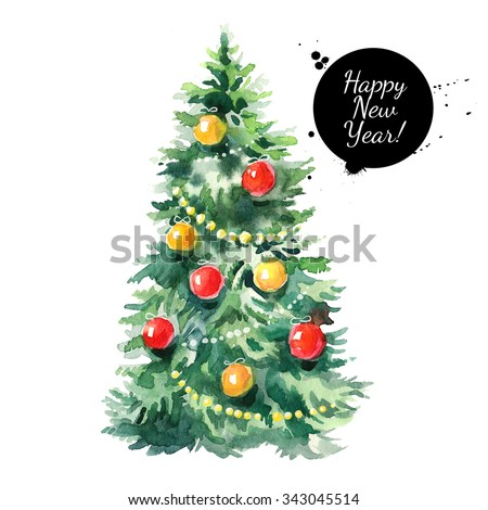 Watercolor Christmas tree illustration. Happy New Year card - stock photo