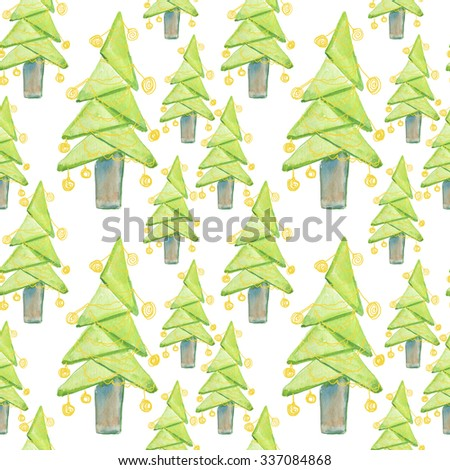 Watercolor Christmas trees. Fir Trees Seamless Pattern - stock photo