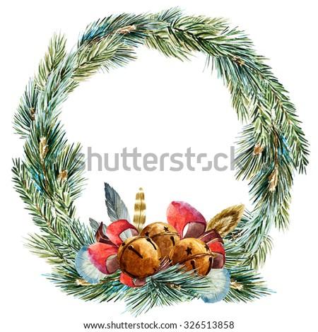 watercolor Christmas wreath, fir branch, tree, ribbon, Christmas bells, Boho feathers - stock photo