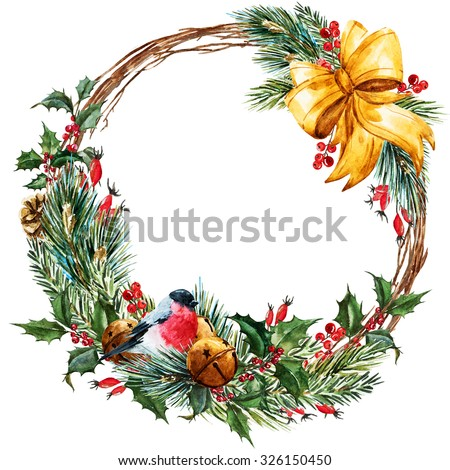 watercolor Christmas wreath, fir, branches of Christmas trees, Christmas bells, ribbon, beautiful round frame, bird bullfinch - stock photo
