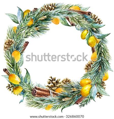 watercolor Christmas wreath with fir tree, lemon, cinnamon, pine cones,  ribbon, round frame, holiday Christmas - stock photo
