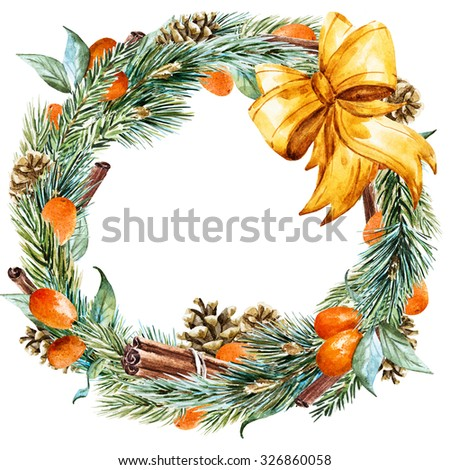 watercolor Christmas wreath with fir tree, oranges, cinnamon, pine cones, golden bow, ribbon, round frame, holiday Christmas - stock photo