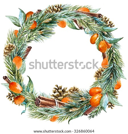 watercolor Christmas wreath with fir tree, oranges, cinnamon, pine cones, ribbon, round frame, holiday Christmas - stock photo