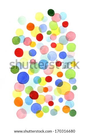 Watercolor circle shape pattern. Bright polka dot on white background  - stock photo