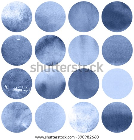 Watercolor circles collection  in lilac colors. Watercolor stains set isolated on white background. Serenity tint palette. Seamless retro geometric pattern. - stock photo
