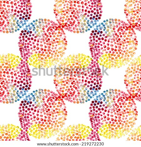 Watercolor circles seamless pattern. Color hand drawn circles ornament. Round shapes pattern. Round shapes. Painted ornament.  - stock photo