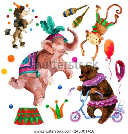 Watercolor circus. Cartoon elephant, monkey, bear and dog. Hand painted illustration - stock photo