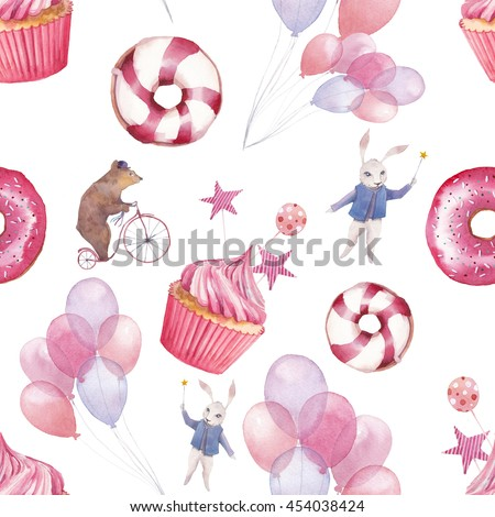 stock photo watercolor circus seamless pattern wallpaper with party air balloons donuts cupcakes and fantasy 454038424 - Каталог — Фотообои «Еда, фрукты, для кухни»