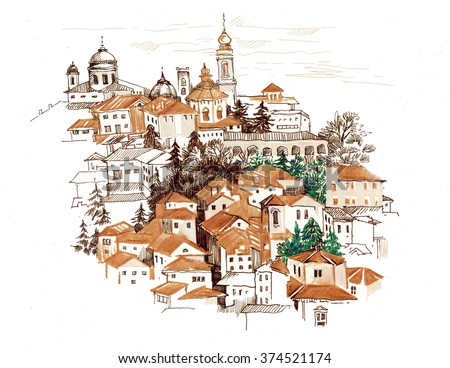 Watercolor cityscape with houses illustration. - stock photo