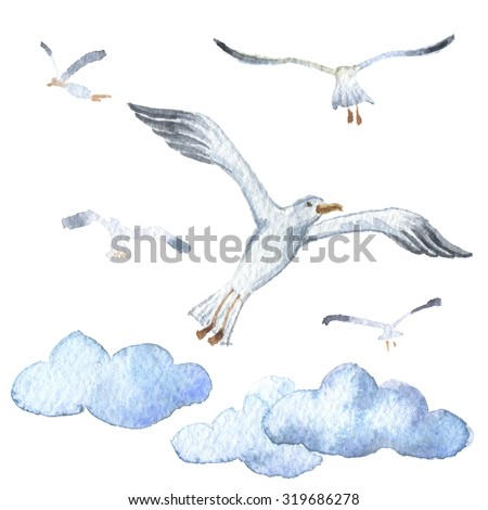 Watercolor clouds and seagulls isolated icons  - stock photo