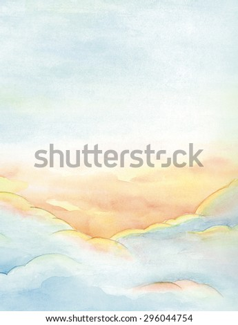 Watercolor clouds and sky background. Heavenly sunset. - stock photo