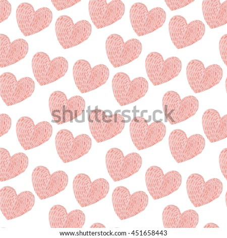 "Watercolor collection ""Little girl"". Kids decoration.  Seamless pattern: coral pink hearts"