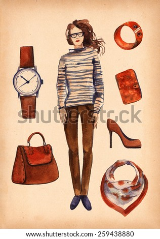 Watercolor collection of fashionable clothes seasons spring, summer for girl. fashion boutique set, doodles  on kraft paper. Brown, orange, blue color and frock. a woman's or girl's dress. - stock photo