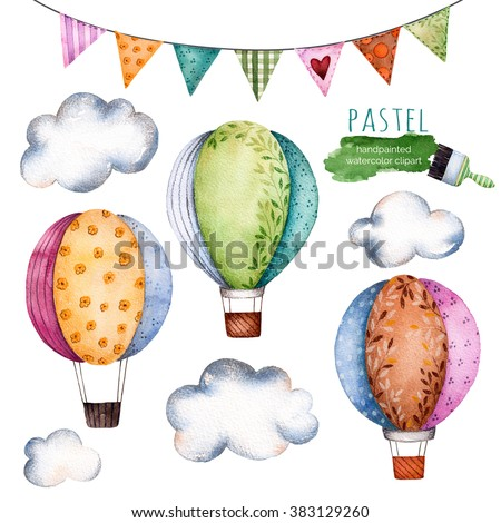 Watercolor collection with air balloons,bunting flags and clouds in pastel colours.Handpainted air ballons beautifully decorated on white background,pastel clouds and multicolored flags.Watercolor set - stock photo