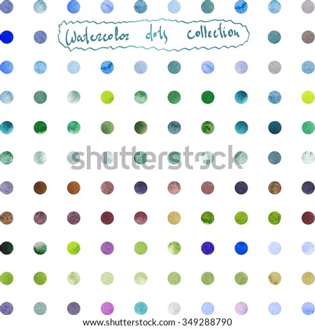 Watercolor collection with simple polka dot pattern. Isolated  green, blue, grey, violet, purple spots.  Retro hand drawn circles ornament. Round shapes pattern. Grunge colorful rounds shapes.  - stock photo