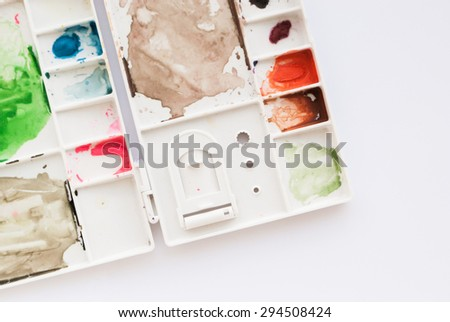 Watercolor color palette on white background