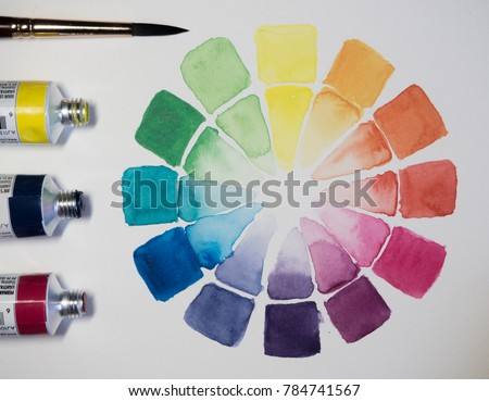 Watercolor Color Wheel With Bright Primary Secondary And Tertiary Colors From Three