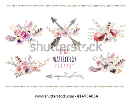 Watercolor colorful ethnic set of arrows  and flowers in native American style.Tribal Navajo isolated ornament on white background. Indian, Peru Aztec wrapping illustration. - stock photo