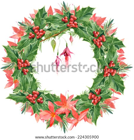 Watercolor colorful floral greeting decoration wreath set with Christmas holly - stock photo