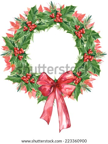Watercolor colorful floral greeting decoration wreath set with mistletoe - stock photo