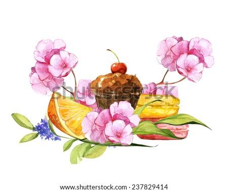 Watercolor colorful romantic happy Valentine card set - stock photo
