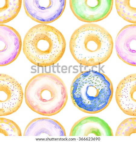 Watercolor colorful seamless pattern with donuts. Hand drawn - stock photo