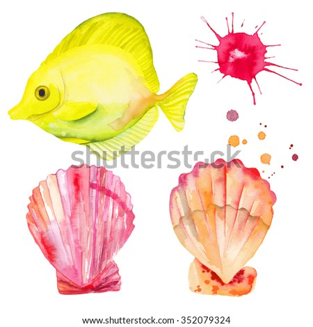 Watercolor colorful set fish and shells. Watercolor splashes splatters. Hand drawn. Yellow Tang Fish.  - stock photo