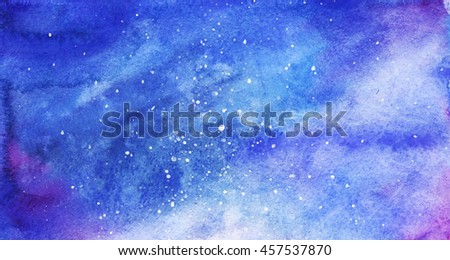 Watercolor colorful starry space galaxy nebula background