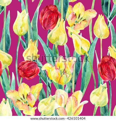 Watercolor colorful tulips field seamless pattern. Blooming tulips season in Holland. Watercolor floral seamless pattern on vivid background. Hand painted illustration nature inspired - stock photo