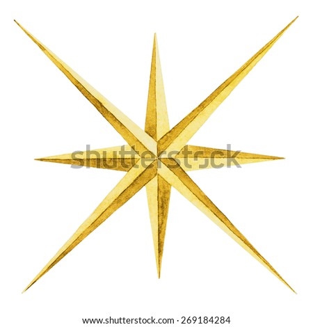 Watercolor, compass, compass rose, star, drawing, symbol, navigation