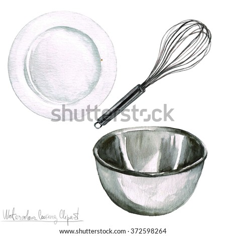 Watercolor Cooking Clipart - Kitchenware  - stock photo