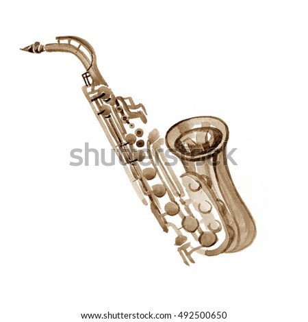 Watercolor copper brass band saxophone on white background