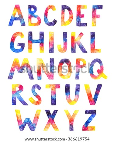 Watercolor cosmic alphabet on white isolated background