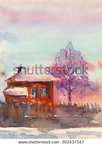 Watercolor countryside landscape with house vector illustration